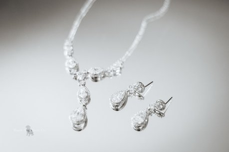 Wedding Photo of Bride's necklace and earrings.