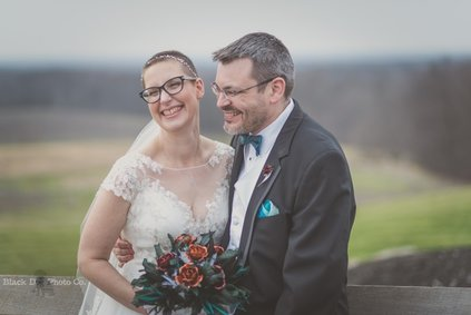 A wedding couple laughing at Mapleside Farms